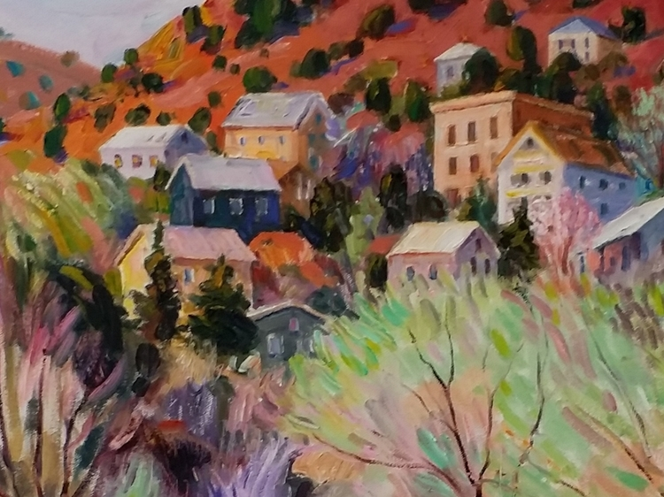 Jerome Arizona 24 X 24     This image is a small crop of the original work.  Please visit us to see the complete work and other pieces we are showing for Rod McGehee.