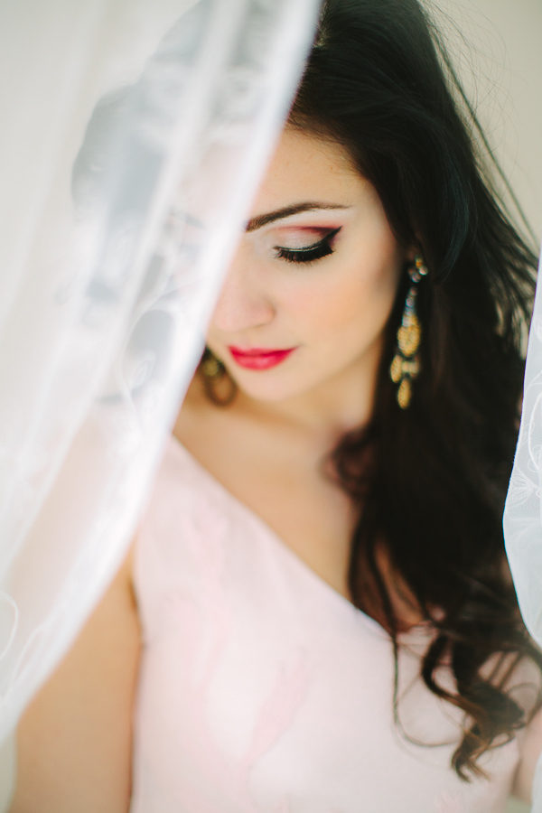Laura, Dayton, Columbus and Cincinnati fine art portrait photography, fine art wedding photographers, pink and gold valentine bridal inspiration, classic bride, modern bride, Lace veil