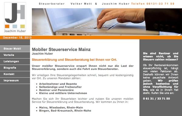 Webauftritt für Steuerberatung