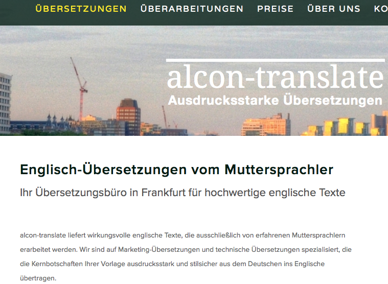 Webseiten-Texte für Übersetzungsbüro Frankfurt