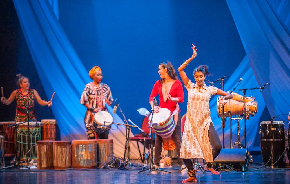 Jessie Lehmann, Kasiva Mutua, Monette Marino, and dancer, Aparna Keshaviah