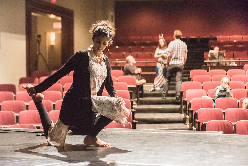 Aparna's pre-show stretching