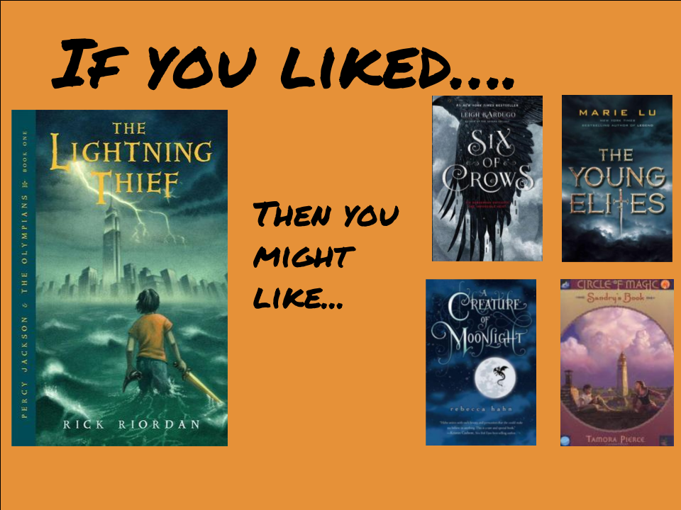 If you liked The Lightning Thief:   Try Sandry's Book by Tamora Pierce! Or Creature of Moonlight by Rebecca Hahn Or the Young Elites by Marie Lu Or Six of Crows by Leigh Bardugo