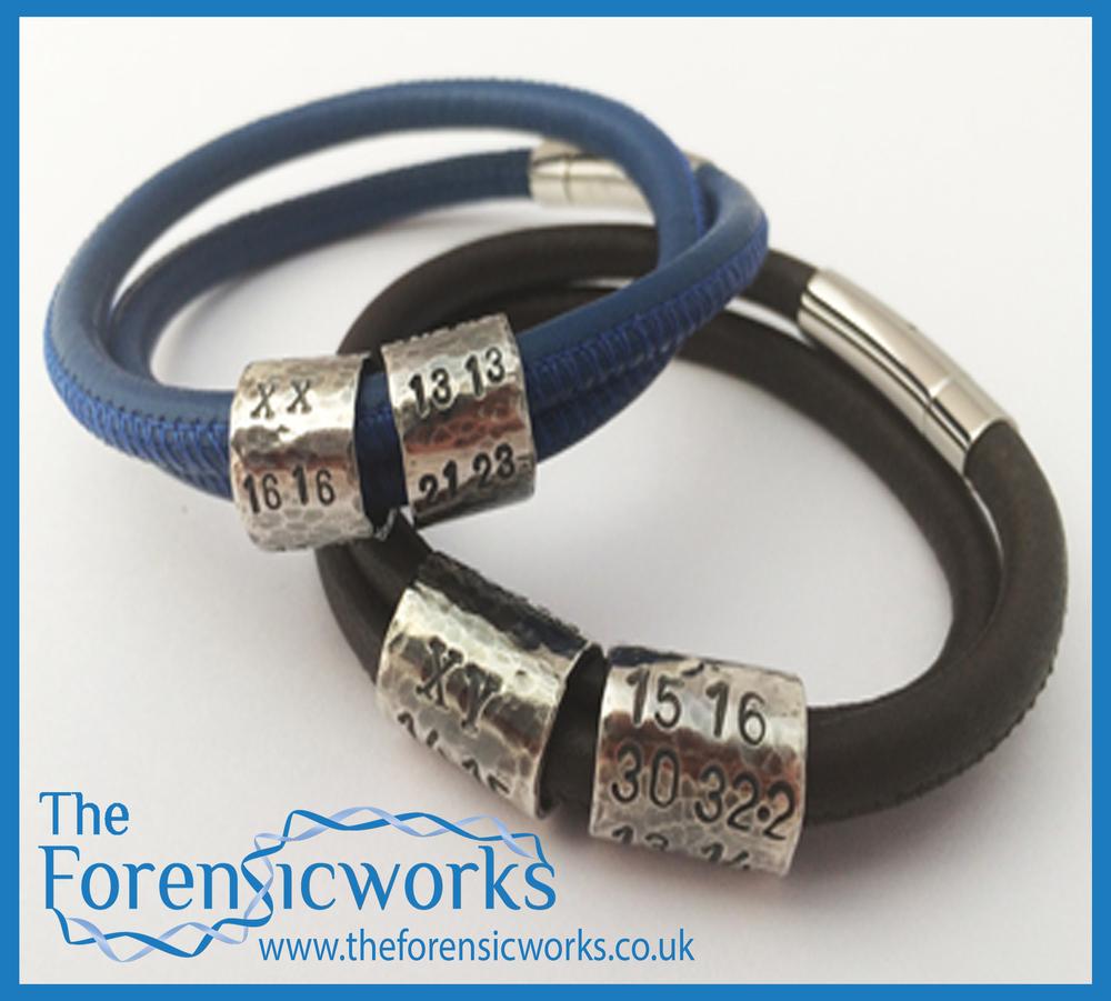 Double bead stitched leather bracelet Branded Framed.jpg