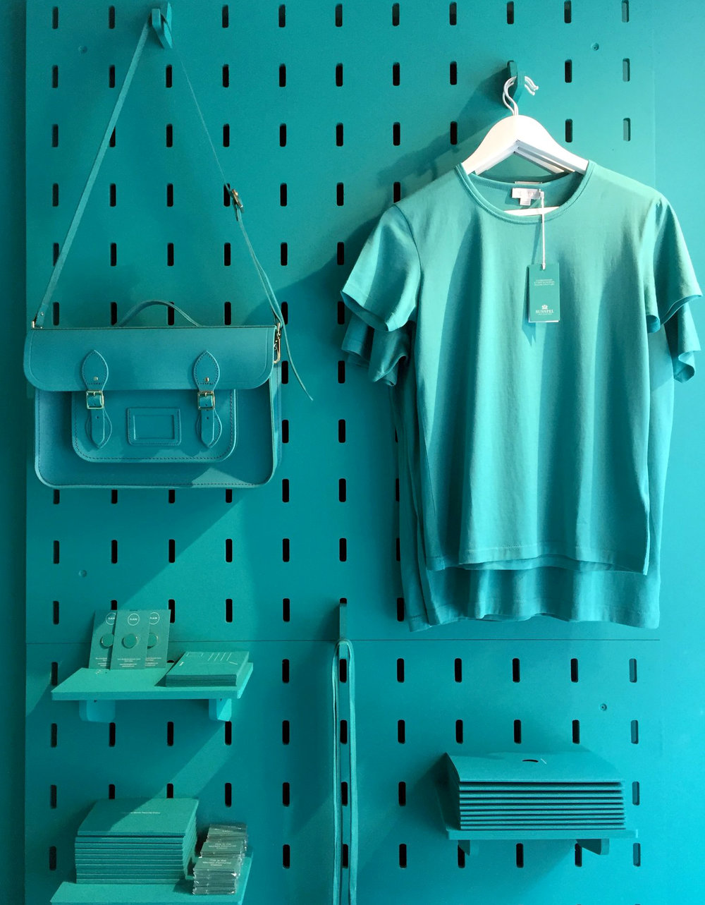 Marrs green goodies and stationery including T Shirt from  Sunspel , Satchel from  Cambridge Satchel