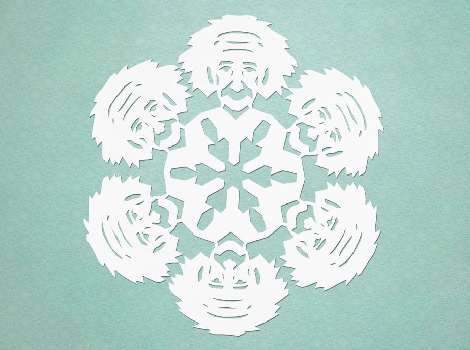 albert einstein paper cut snowflake