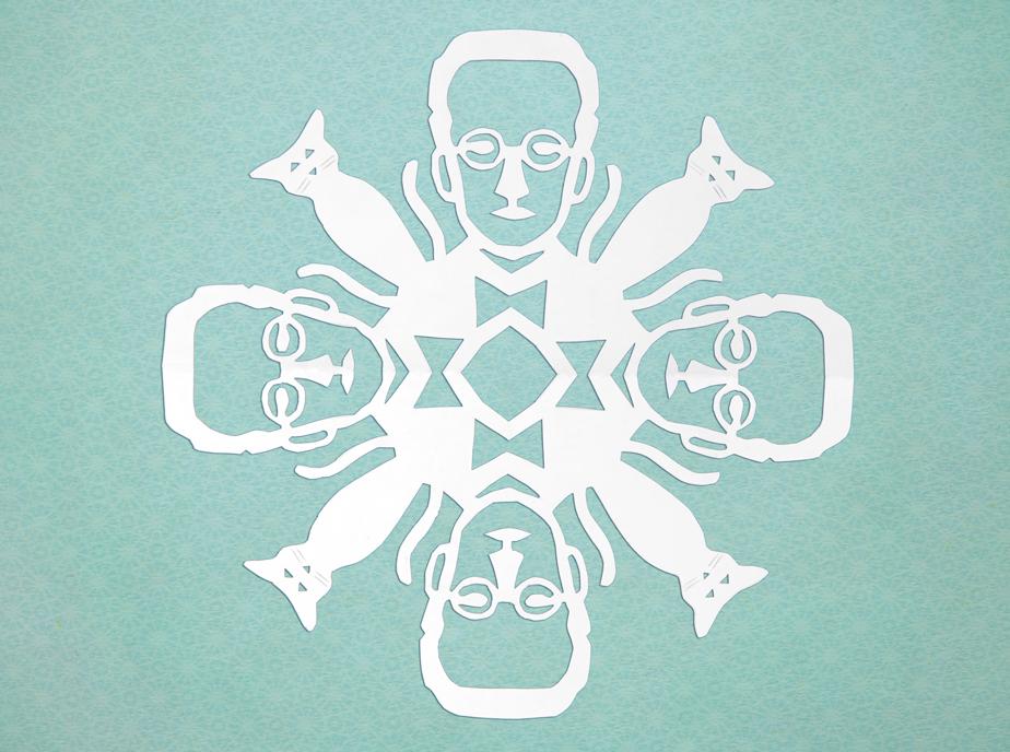 Erwin Schrödinger Paper Cut Snowflake