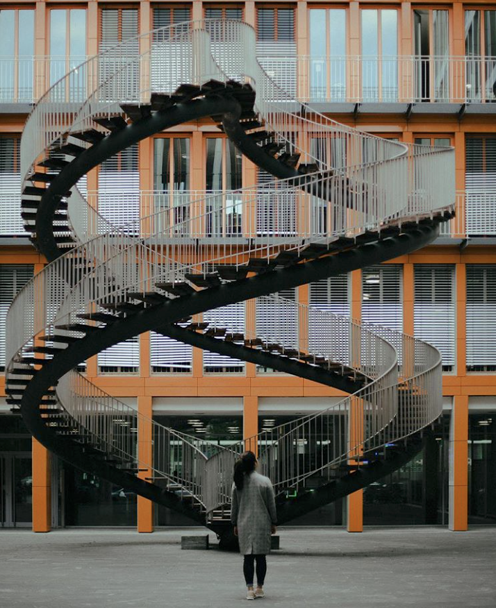 Outdoor Merging Spiral Staircases