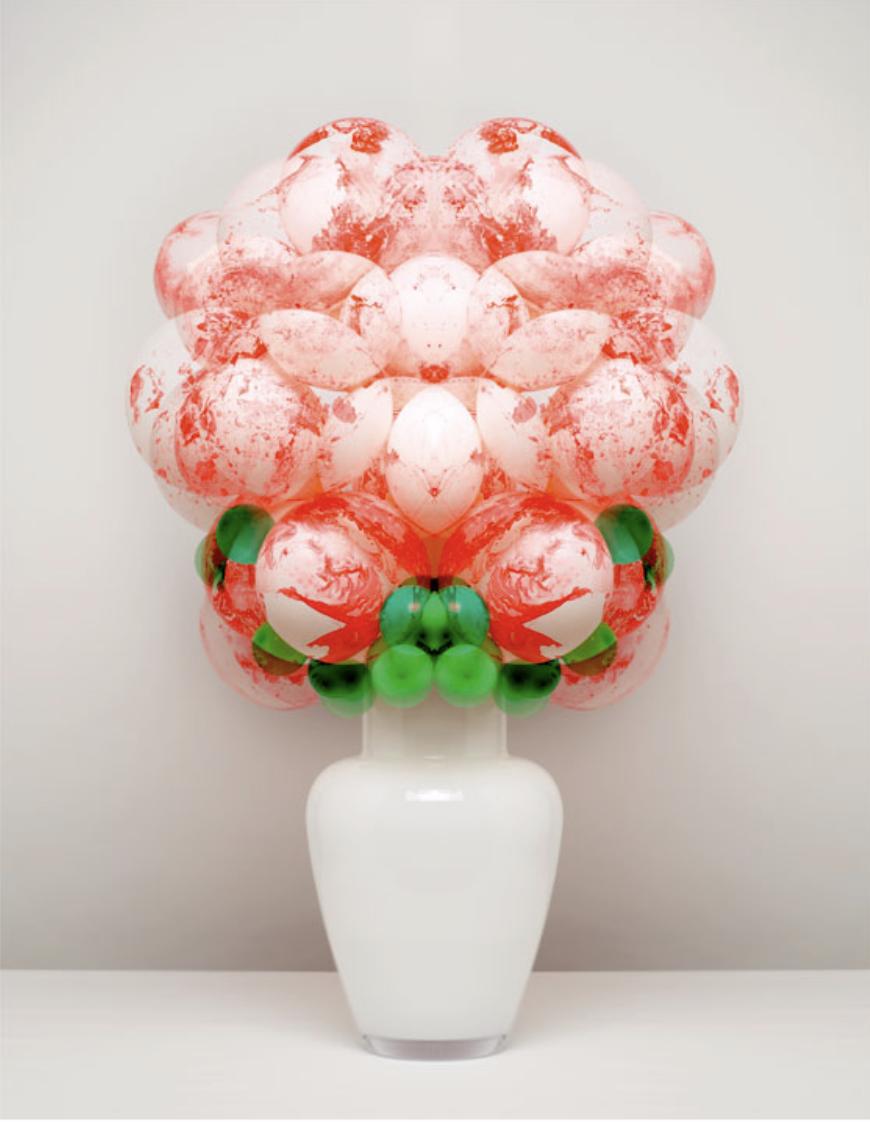 marbling effect balloon flower arrangement