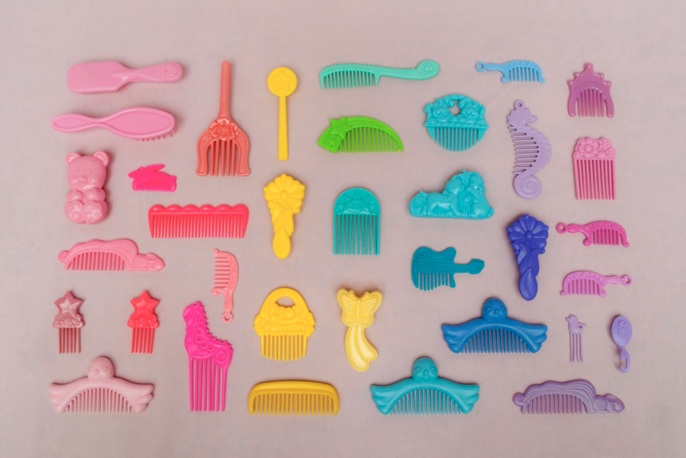 plastic toys in bright rainbow palette