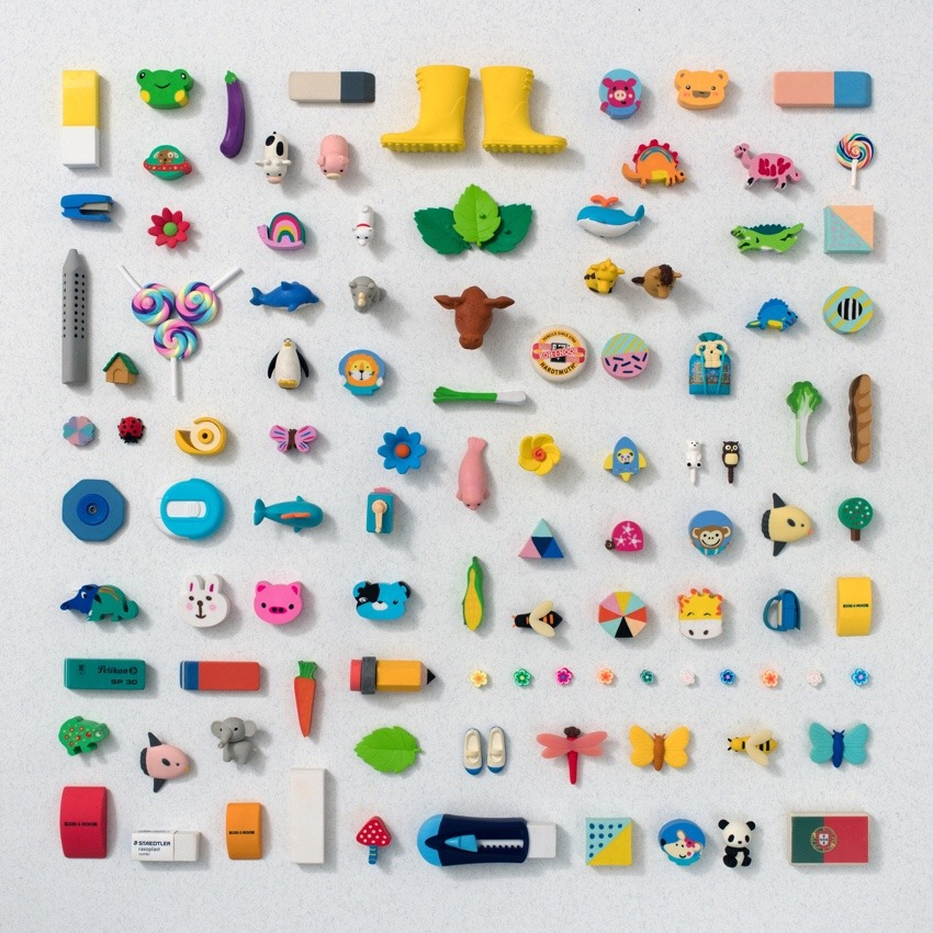 colourful erasers organized neatly