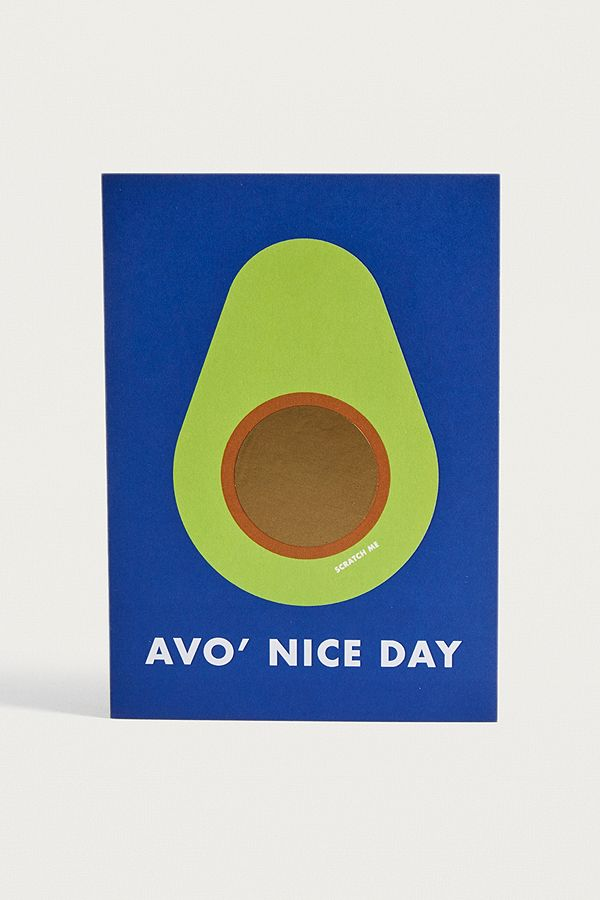 Avocado Pun Avo Nice Day Scratch Off Greeting Card
