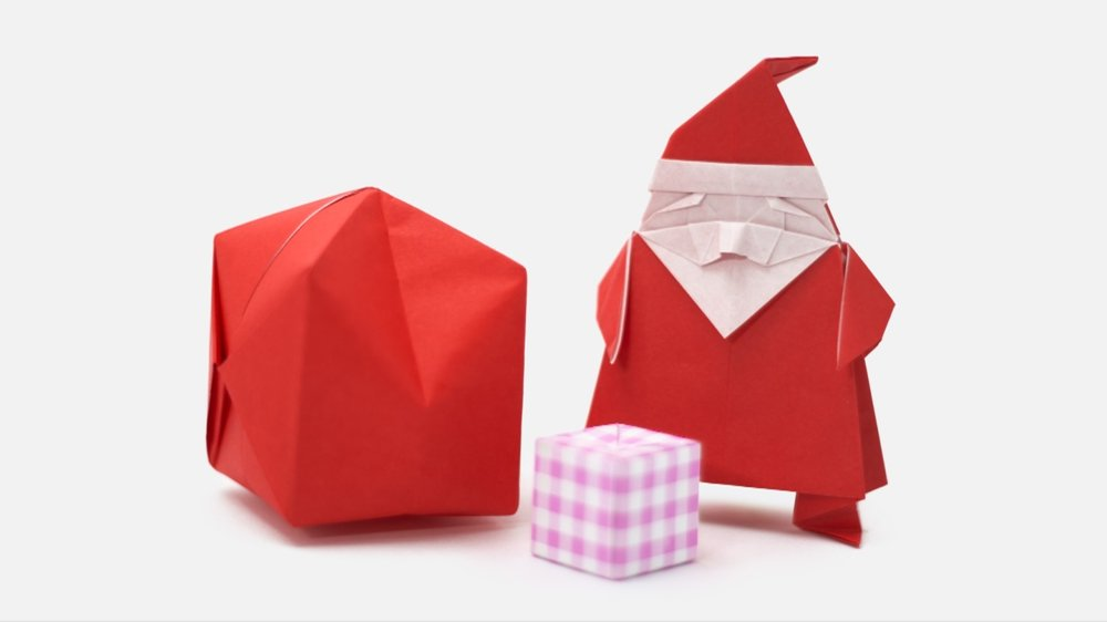 santa and presents paper origami