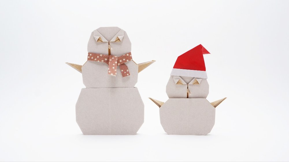 cute snowman and santa claus paper origami