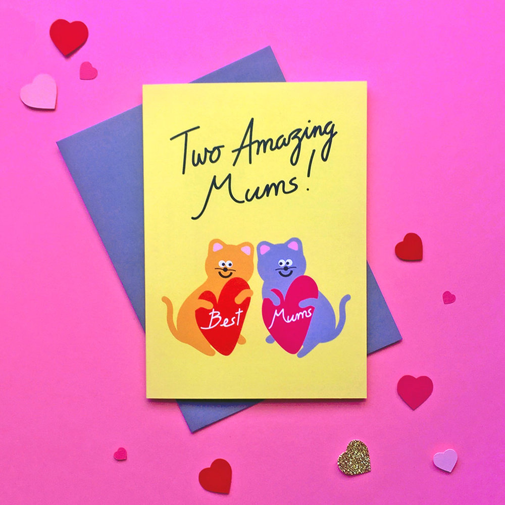 Cute LGBT Lesbian Gay Two mums same sex couple lesbian cat mums mother's day card