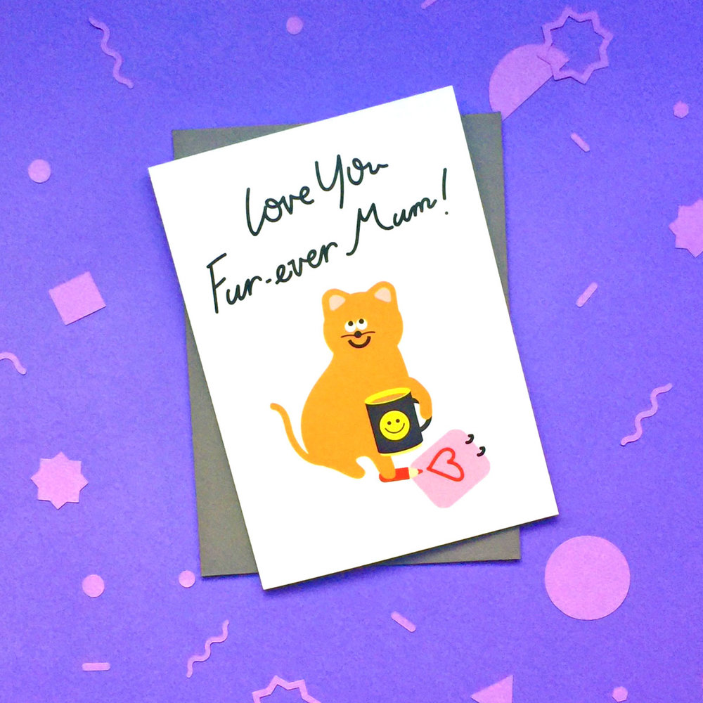 illustrated cute ginger cat pun cat lady mother's day birthday card from fur baby