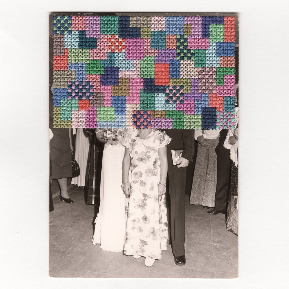 Modern Colour Cross Stitch Embroidery Vintage Black and White Wedding Photograph.jpg