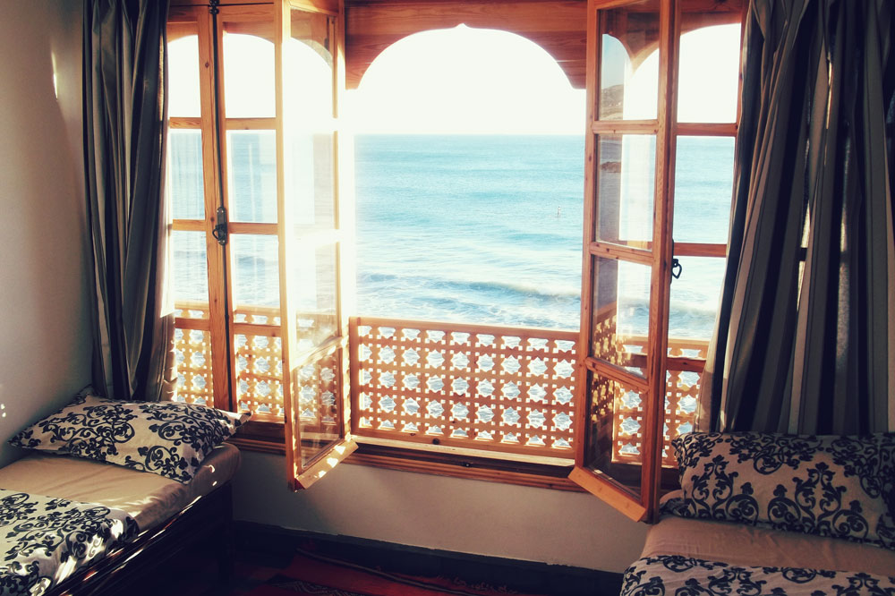 One of the ocean view bedrooms in the main camp