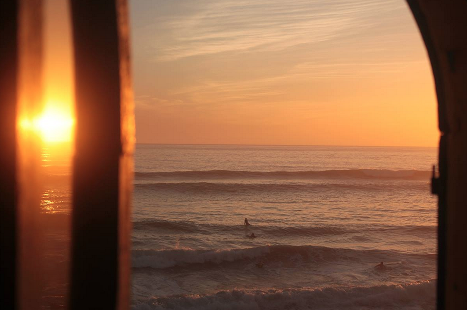 Sunset from one of the surf camp bedrooms.