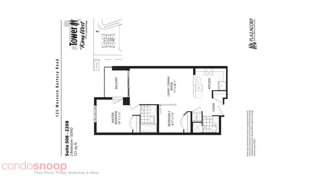 The tower at king west 125 western battery road for 1 king west floor plans