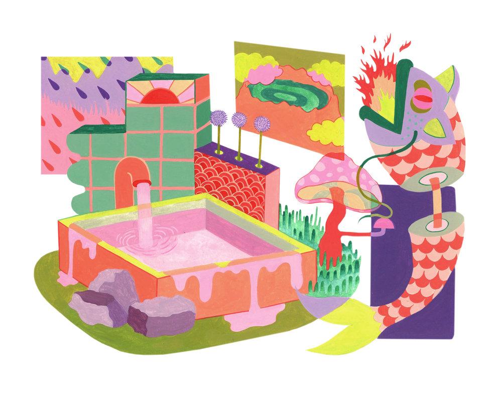 Pink Onsen , (detail)