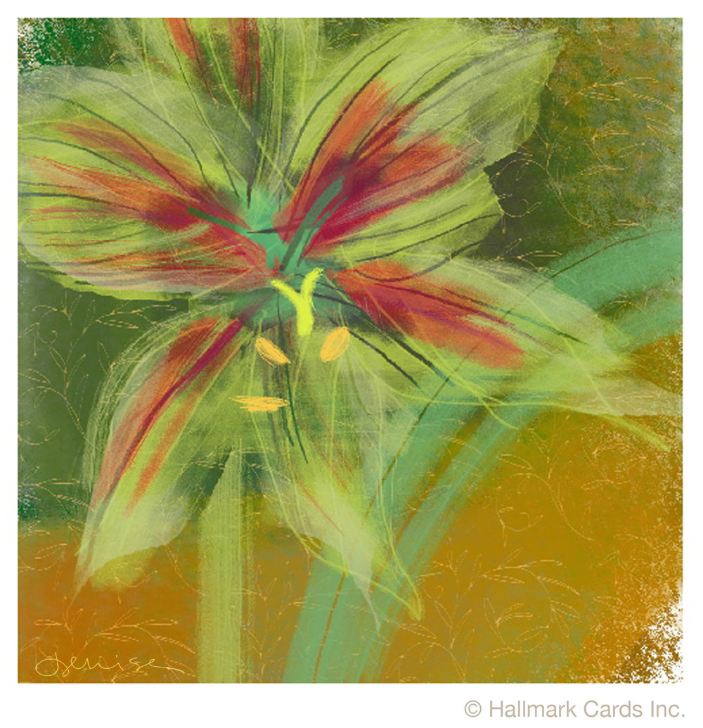 Green Amaryllis Xmas Card.jpg