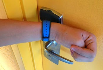 Open hotel rooms by tapping the Mickey icon against the door key pad.