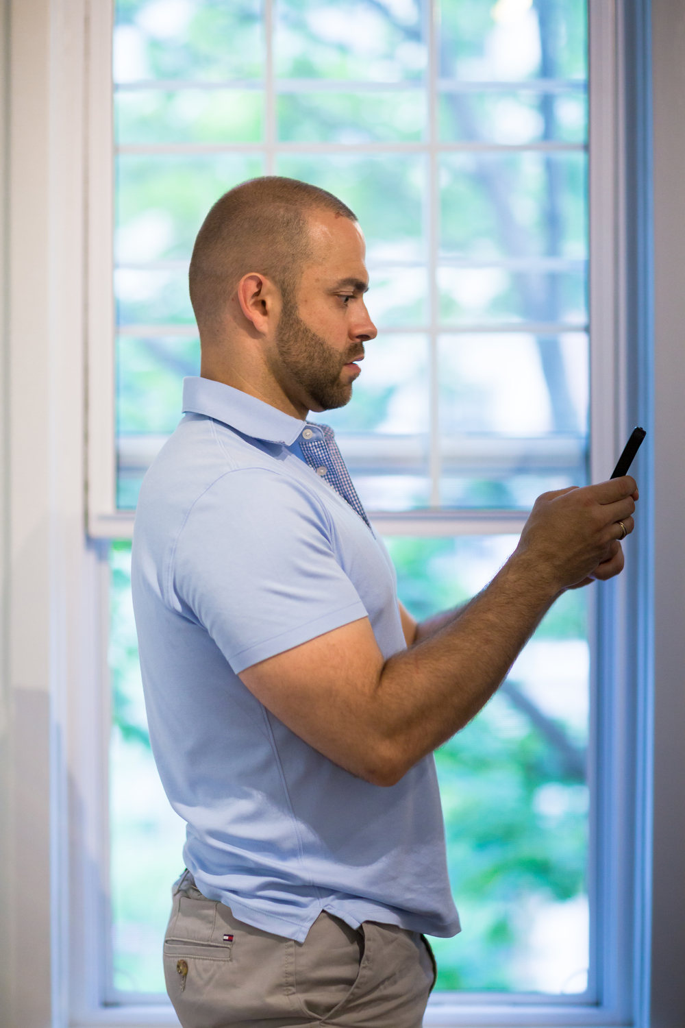 DO:  When standing and using your phone, bring the phone to chin height and it will push your body into an appropriate posture. Pulling your shoulder back and down can help as well..