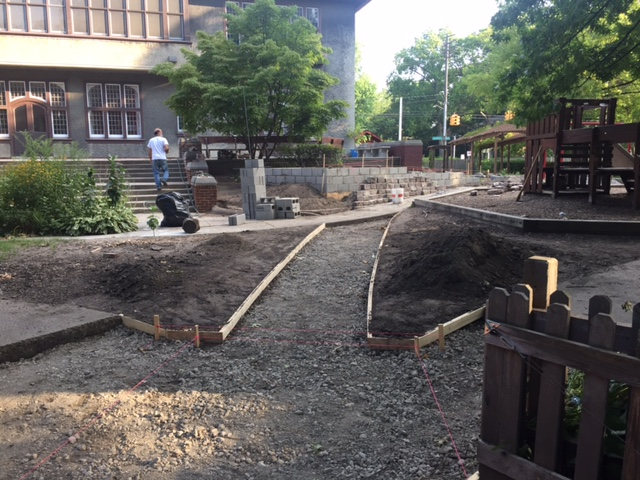 Early stages of our ADA ramp construction, shortly after breaking ground.