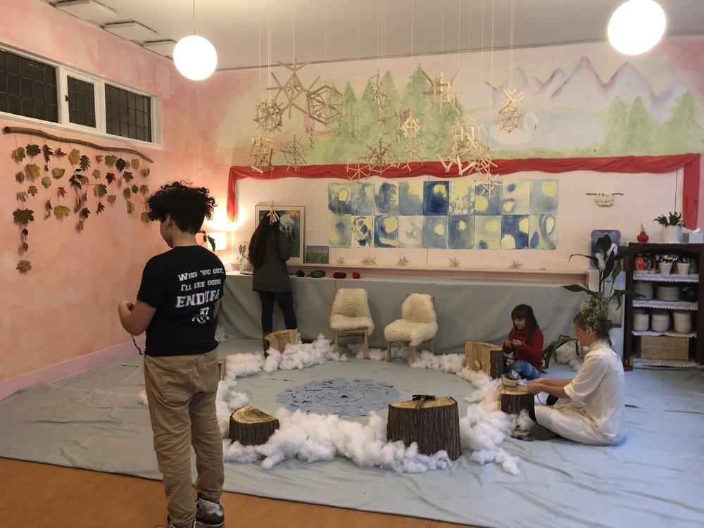 Students prepare for the Waldorf Winter Faire