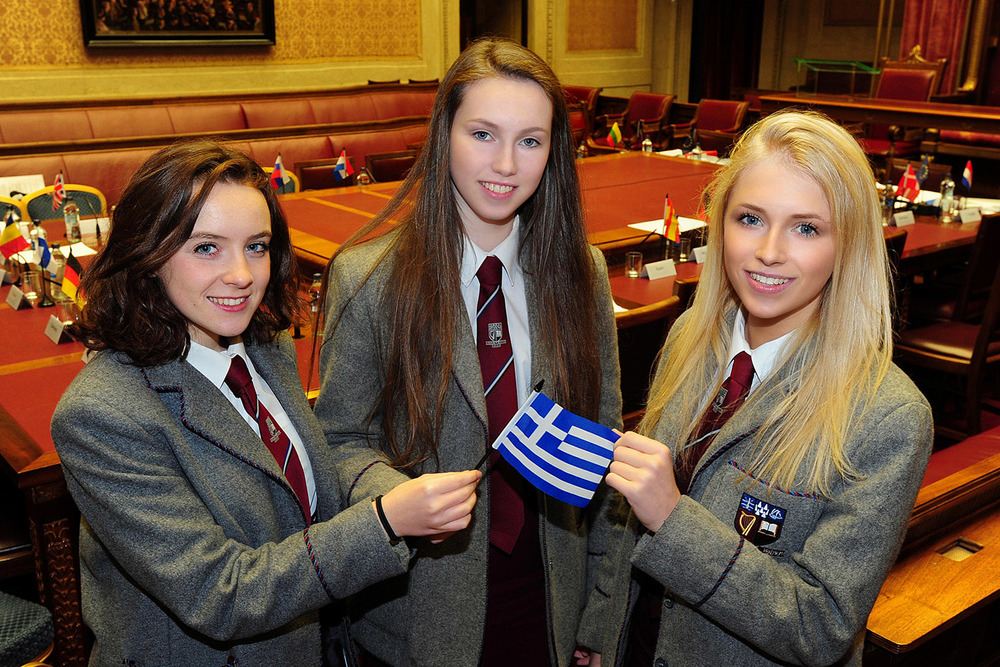 Ellen Beattie, Petra Wells and Tara McKibbin in Parliament Buildings, Stormont