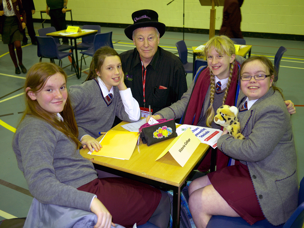 The VCB team at the 2013 Kids Lit Quiz finals in Belfast http://www.kidslitquiz.com/ . They are pictured with quizmaster Wayne Mills. Over 30 local schools took part; VCB finished in the top 10 but the event was won by Killicomaine Junior High, Portadown.