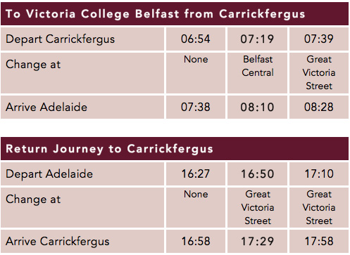 Carrickfergus Timetable