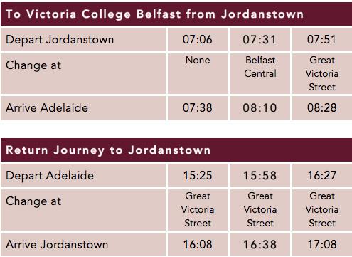 Jordanstown Timetable