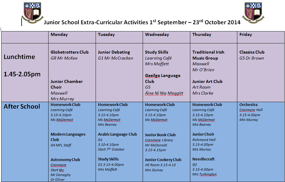 Junior Extra curricular programme