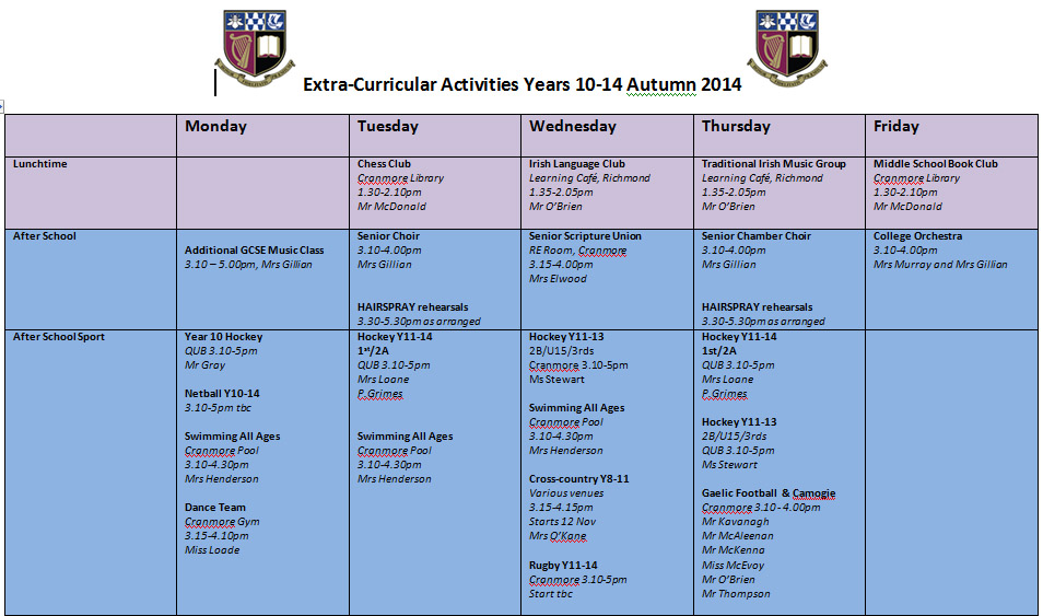 senior extra curricular activity programme