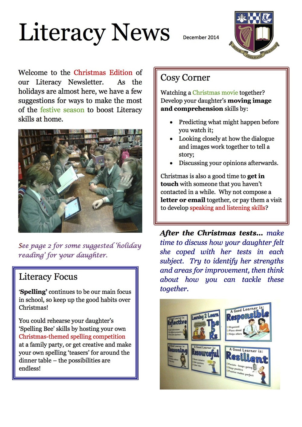 Literacy Newsletter December 2014