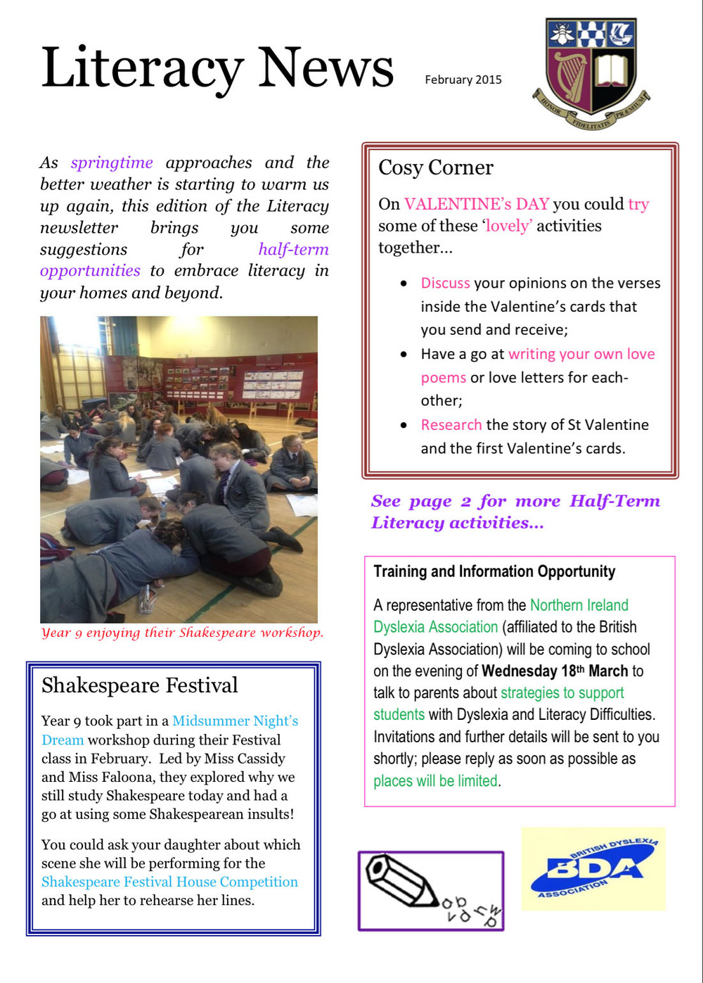 Literacy Newsletter February 2015