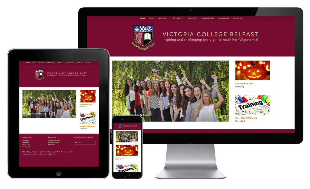 Victoria College website on different devices when launched