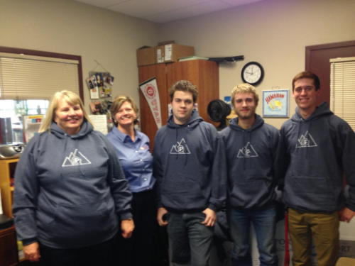 Kathy Purin, Kuna High School College/Career Counselor, and Kuna HS Students