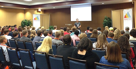 Joel Crane from MetaGeek opened up the PTECH Student Conference in Meridian.