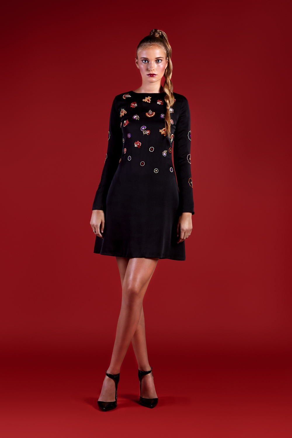 Floral Embroidered Silk A-line Dress