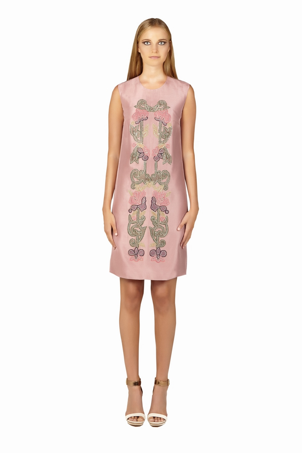 Silk Floral Embellished Appliqué Shift Dress