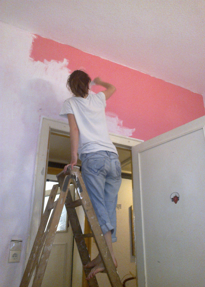 Before I could move in with my treasures I needed to paint over parts of the wall; the pink was lovely but having a pink overcast is unfortunately not, hence it had to go.