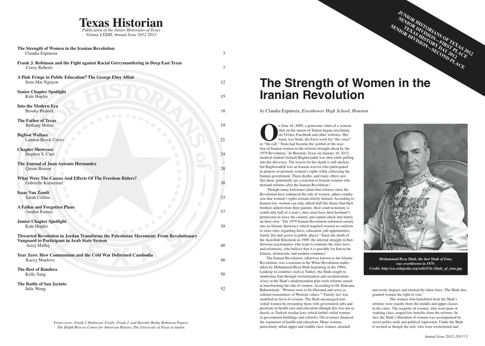 TEXAS HISTORIAN (INSIDE PAGES)