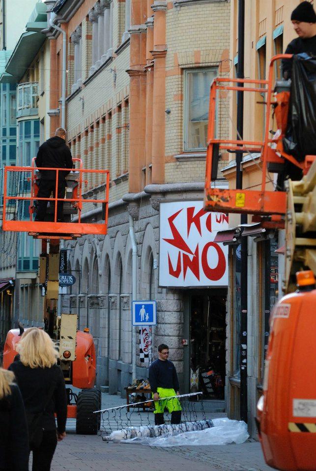 Montering på Gamla Brogatan.
