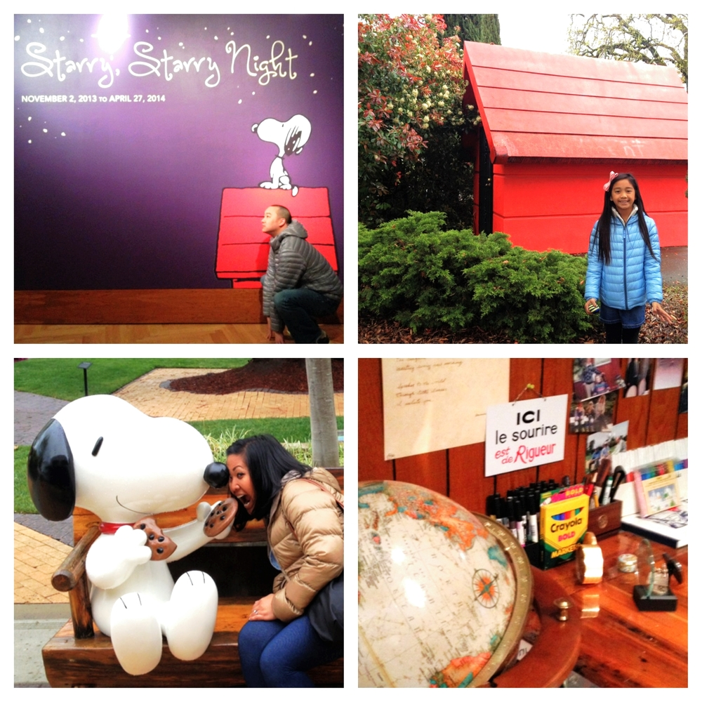 Clockwise from TOP: Jason's attempt at being like Snoopy, Jaden by the giant model of Snoopy's red house, Mr. Schulz's desk, Snoopy sharing a cookie with Jane