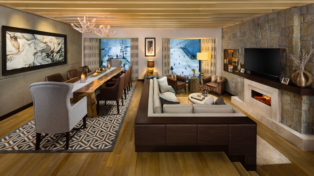 ASPEN MEETS DUBAI:  Kempinski Hotel Mall of the Emirates Dubai offers guests the experience of Aspen's winter and summer sophistication in Dubai with the newly renovated Aspen Chalets. An exclusive hotel within a hotel, the luxurious Aspen Ski and Pool Chalets offer the perfect escape in the heart of the city, whether you crave a winter retreat or a summer getaway with family and friends. Choose from a one, two, three bedroom or duplex Aspen Ski Chalet, all with views over the powdery white slopes of Ski Dubai, or a one-bedroom Aspen Pool Chalet. Designed by Wimberly Interiors as a dichotomy between snow and sun, the suites, which all come with access to the exclusive Executive Lounge, feature spacious marble bathrooms and luxurious Hermès vanities. Tech lovers will be thrilled with the state-of-the-art Bose sound system, iPads and large LED TVs. For the epitome of opulence, stay in their impressive Three Bedroom Aspen Ski Chalet, set over three floors and accommodating up to six adults – for all the space, privacy and luxury you will ever need.