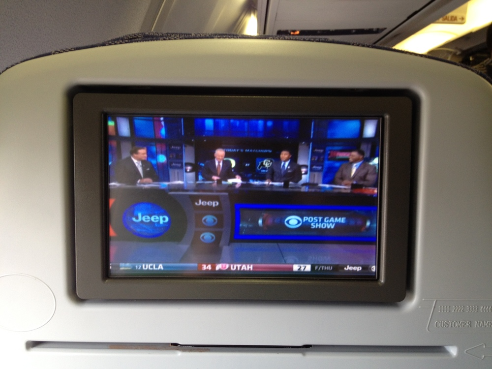 DirecTV on my flight home. It definitely made the flight home feel faster.