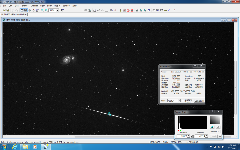 Screen shot of possible shooting star :-)